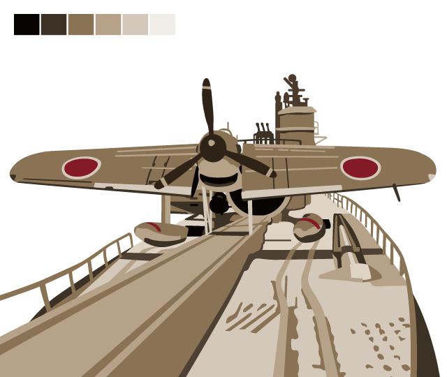 「伊400型潜水艦&晴嵐」Tシャツのデザインイメージ