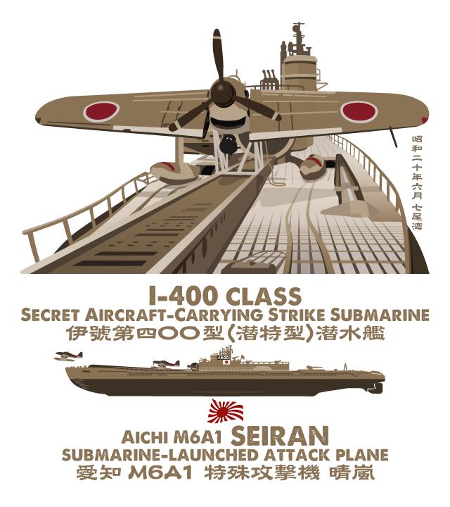 「伊400型潜水艦&晴嵐」Tシャツ背面デザイン作業中